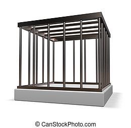 metal cage on white background - 3d illustration