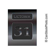 Metal calendar October 31. - Illustration with a metal...
