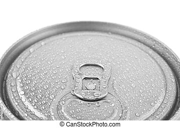 metal can in water drops isolated on white background