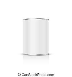 Metal can on a white background.
