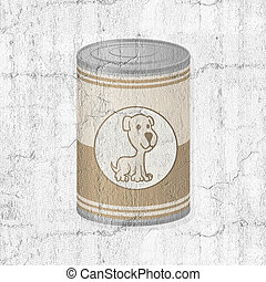metal can with dog food
