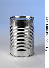 Metal Can without Label - Metal can without label over blue...