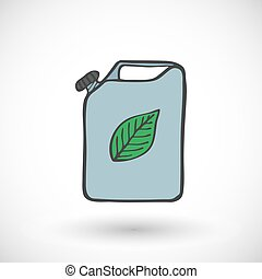 Metal canister of eco fuel icon. Vector illustration