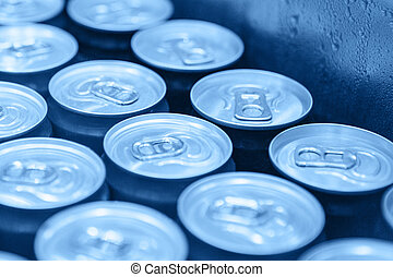 Metal cans with cool drinks