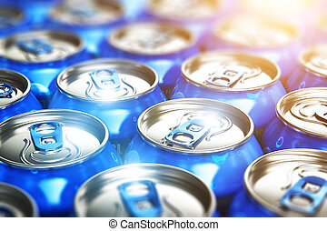 Metal cans with soda refreshing drinks