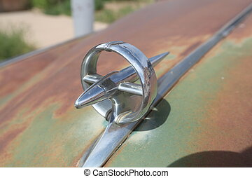 Metal Car Badge. Close up