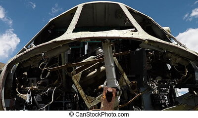 Metal carcass of an airplane - A hand held, tilting, extreme...