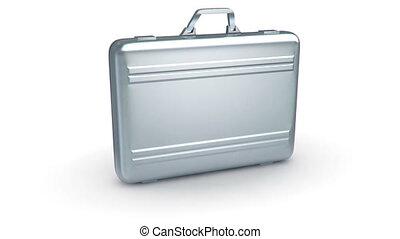 Metal case on white background