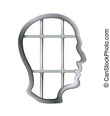 Metal cell in human head being jail, struggle, lack creativity, restrictions freedom of thought concept. Business. Isolated freedom concept. Symbol prison bars. Detention centre. Vector illustration