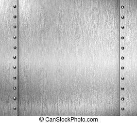 metal cepillado, plano de fondo, remaches