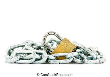 Metal chain and yellow padlock