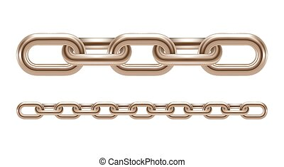 Metal chain links vector illustration isolated on white background