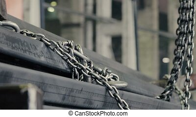 Metal chain of the loader - Close up of metal chain of the...
