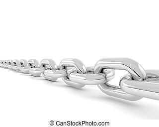 Metal chain on a white background.