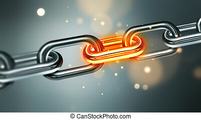 Stressful situation concept image - Metal chain with glowing...
