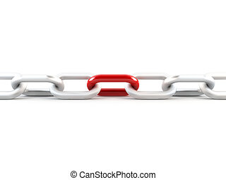 Metal chain with one red link - 3D rendering of a metal...