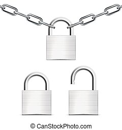 Metal Chain With Padlock. Close And Open Ones