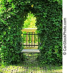 Metal chair in the garden