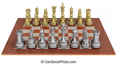 Metal chess set on wooden board