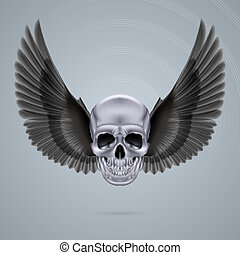 Metal chrome skull with two wings