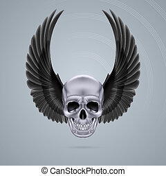 Metal chrome skull with two wings up