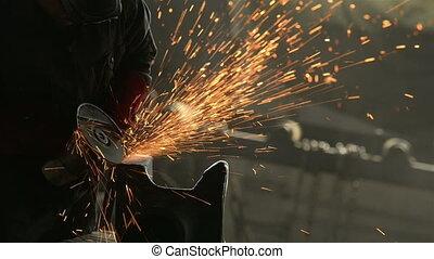 metal, cięcie, pracownik, fabryka