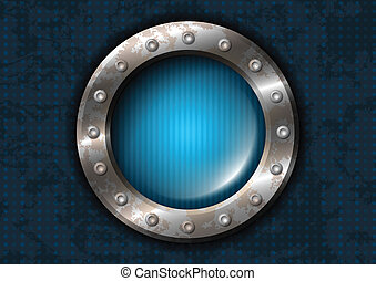Blue round lamp with metal frame and rivets