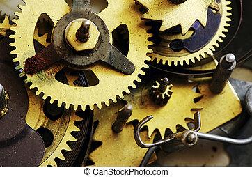 metal clock mechanism - Closeup of old metal clock mechanism...