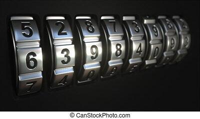 Metal code lock rings reveal SECURITY word. Conceptual 3D...
