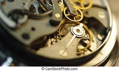Metal cogwheels inside clockwork
