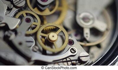 Metal cogwheels inside clockwork chronograph. Concept...