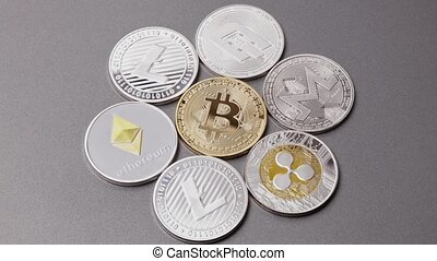 Metal coins of crypto currency LTC, ETH, BTC, XMR, XRP,...