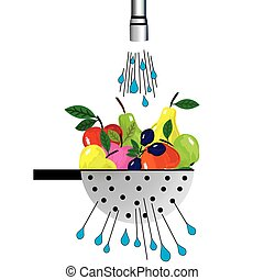 Metal colander and fruit. Illustration of colander with fruit placed under the water