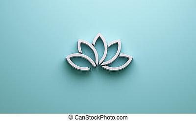 Metal Colors Lotus Flower Background. 3D Render Illustration...