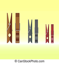 Metal colour clothes pin set on gradient background