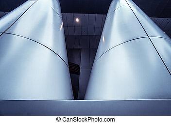 Metal column in modern futuristic architecture