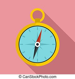 Metal compass icon, flat style