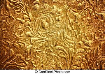 metal, con, patrón floral