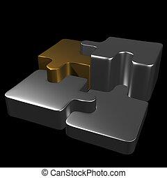 metal, confunda pedaços, com, experiência preta