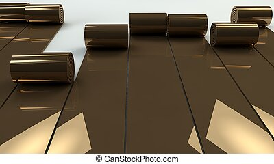 metal copper rolls unrolling. industrial background, 3d render.