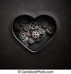 metal, coração, com, engrenagens, e, cogs, 3d, ilustração
