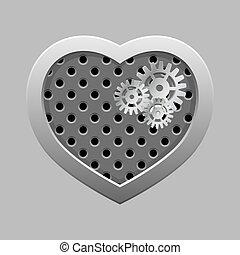 metal, coração, com, prata, engrenagens, ligado, a, escuro, experiência.