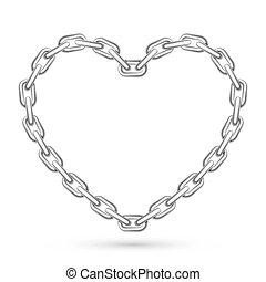 metal, corazón formó, cadena