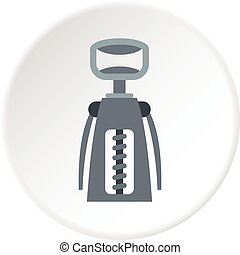 Metal corkscrew icon circle - Metal corkscrew icon in flat...