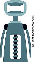 Metal corkscrew icon isolated
