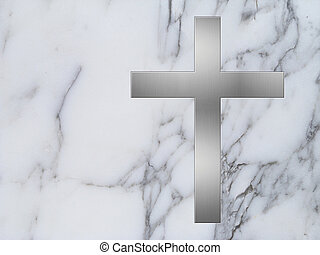metal cross and white marble background - silver cross inlay...