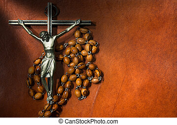 Metal Crucifix with Wooden Rosary Beads