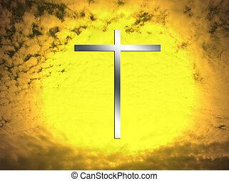 metal, crucifixos, em, um, inflamável, céu