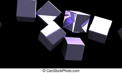 Metal cubes abstract on black background
