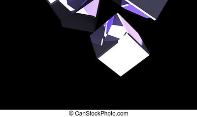 Metal cubes abstract on black background. 3DCG render...